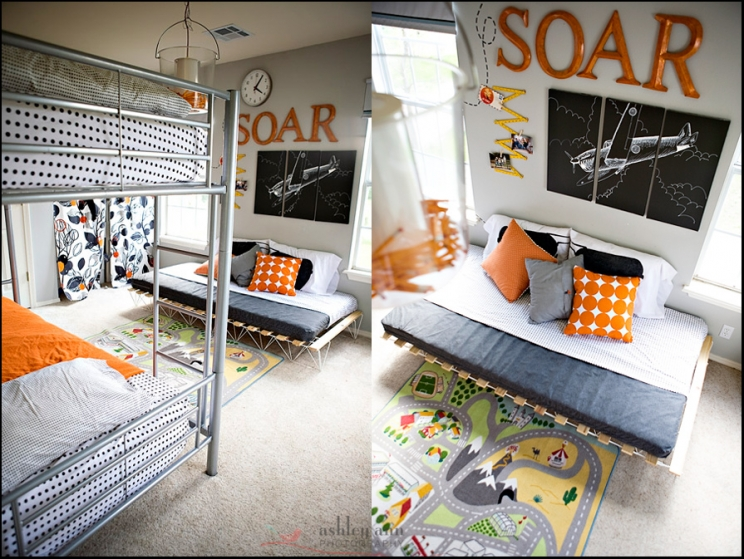 orange airplanes not girly shared boy s bedroom