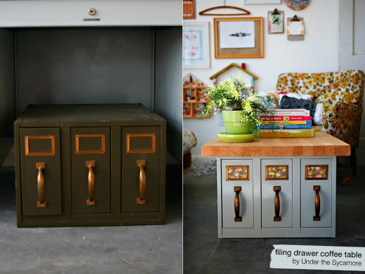 Diy filing drawer coffee table for Diy coffee table with drawers