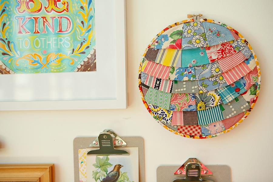 Diy layered fabric hoop - Manualidades de tela para el hogar ...
